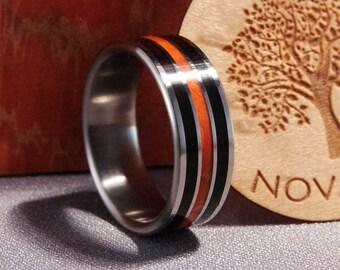 African Ebony and Orange Box Elder Burl on Titanium ring, triple inlay wood ring, wedding band with wood inlay, Black and Orange ring