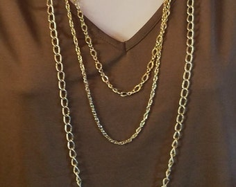 Multi-strand gold-tone layered chain necklace 3 strand necklace