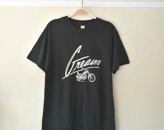 Vintage 1970's Greaser Black 50/50 T-shirt