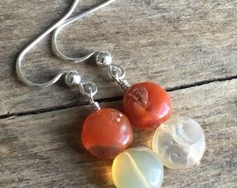 Mexican Fire Opal Dangle Earrings