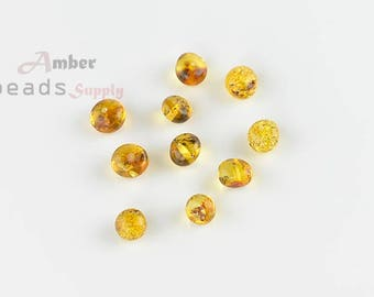 Amber Beads, Baltic Amber, Oval Beads, Baroque Style, Green Amber, Amber with holes, Amber for Jewelry, 10 pieces