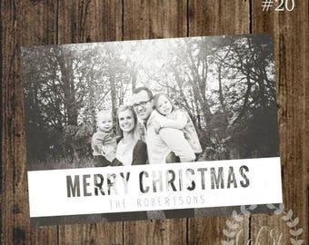 50% OFF Photo Christmas Card, Family Christmas Card, Modern Cutout Christmas Card, Design #20