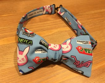 Overwatch Bow Tie, D.VA themed, Bowtie, Self Tie, Pre Tied, Gamer, PS4, XBox One, PC, Video Games, Controller, Wedding, Dapper On Arrival