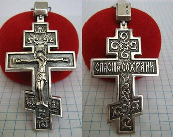 SOLID 925 Sterling Silver Big Large Huge Detailed CROSS Pendant Crucifix Angel Dark Oxidized Blackened Darkened Russian Cyrillic Inscription