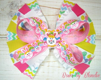 Handmade polymer clay Chevron Easter Bunny detailed spiky bow!