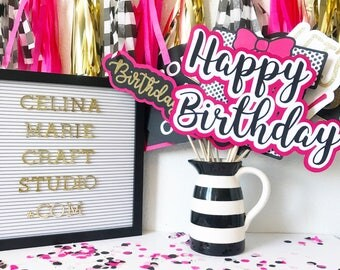 Birthday Photo Booth Props | Trendy Photo Booth Props | Pink Photo Booth Props | Pink, Gold, and Black Party Decor | Party Supplies | Spade