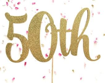 Gold Glitter Anniversary Cake Topper | Glitter Birthday Cake Topper | Number Cake Topper | Silver or Champagne Glitter Cake Topper