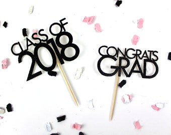 Glitter Graduation Cupcake Toppers | Class of 2018 Cupcake Toppers | Congrats Grad Cupcake Toppers | Graduation Party Decor | Cake Accessory