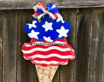 Fourth of July Door Hanger, Ice Cream cone, summer soor hanger, USA, Independence Day Decor, red white and blue