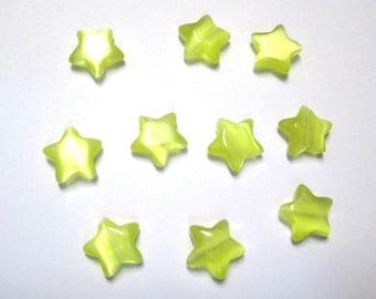 10 yellow 10x10x3.5 mm star shaped cat eye beads