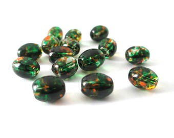 20 beads in transparent glass speckled orange and green shape 9x6mm olive
