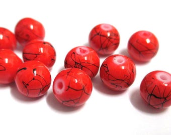 10 red, black round glass beads painted 8mm