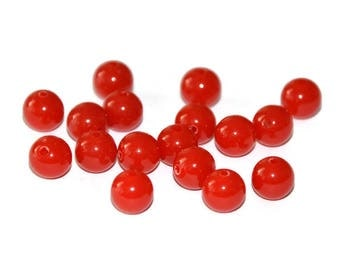 10 Red 8mm acrylic beads