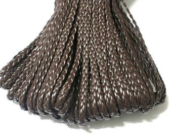 1 m of Brown faux leather braided 5x2mm