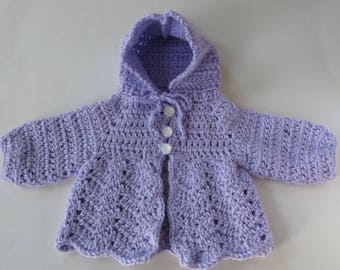 Crocheted Purple Baby Sweater, Lavender Hooded Baby Cardigan, 10-inch Chest, Newborn to 3 Months, Baby Girl Sweater, Baby Boy Sweater