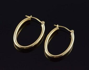 14k U Hollow Hoop Tube Earrings Gold