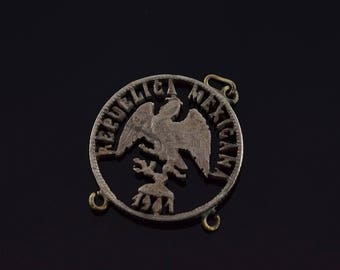 1901 Cut Out Mexico Mexican Old Coin Charm/Pendant Silver