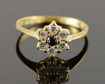 14k 0.35 CTW CZ & Sapphire Cluster Ring Gold