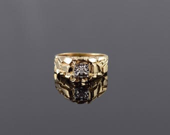 10k Genuine Diamond Nugget Ring Gold