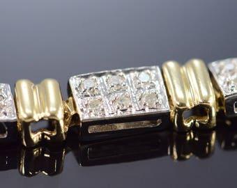"14k 1.00 Ctw Diamond Encrusted Two Tone Tennis Bracelet Gold 7.5"""