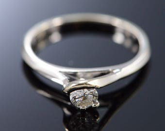 18k 0.25 Ct Round G / VS1 Diamond Solitaire Engagement Ring Gold