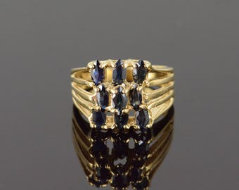 14k 1.50 CTW Sapphire Cluster Ring Gold
