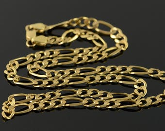 """14k 5.5mm HEAVY Figaro Link Chain Necklace Gold 20.25"""""""