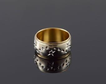 14k 9.5mm Starburst Two Tone Wedding Band Ring Gold