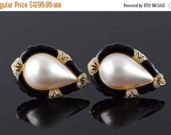 Big SALE 14k Retro 34x24mm Mother of Pearl Black Onyx Stunning Earrings Gold