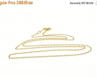 Big SALE 14k 1.7mm Rolling Pressed Curb Link Chain Necklace Gold 29.75""