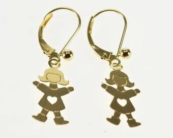 14k Girl Heart Cut Out Stylized Dangle Lever Back Earrings Gold