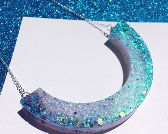 BE THE SPARKLE peachish handmade glitter resin scoop necklace statement piece perfect for colourful glitter lovers & festival
