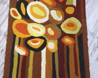 "Evelyn Ackerman? Hooked Tapestry Rug Mid Century Modern Wall Art 36"" x 57"""