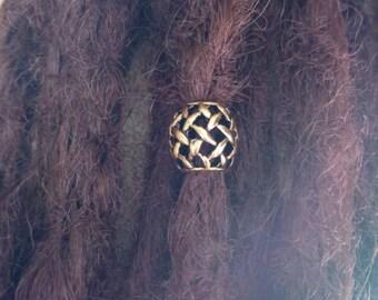Gold toned Viking beard bead. Viking hair bead. Braid bead. Dread bead.