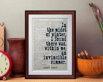 Albert Camus quote  - dictionary page literary art print home decor present gift books music