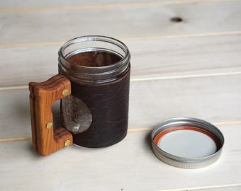 The Woods Mug with Ol'Red Folklore Bison Leather & Cherry Wood Handle