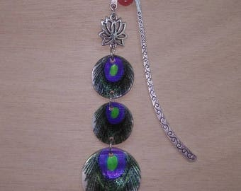 1 bookmark feather of peacok