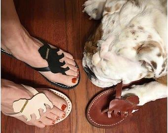 English Bulldog Lady Flip flops leather shoes handmade gift shoes