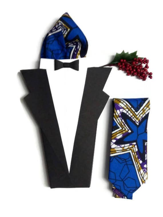 Blue Purple African Print Fabric NeckTie And Matching Pocket Square