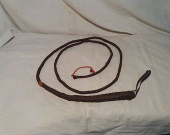 Vintage Handmade  Brown Leather Whip