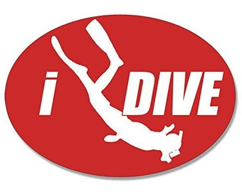 Oval I Dive Red Scuba Sticker (Scuba Diver Idive)
