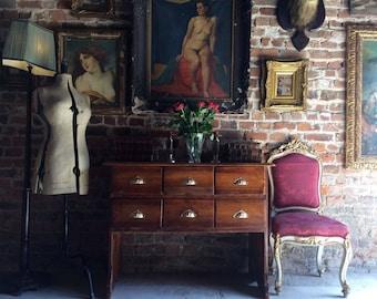 Stunning Vintage Pine Shop Counter Haberdashery Cabinet