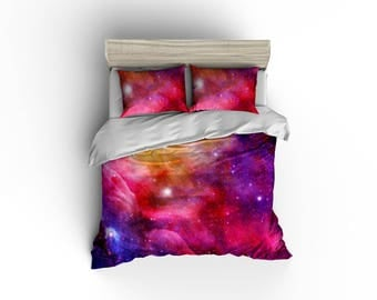 Galaxy pink, yellow, purple duvet cover