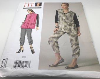 Vogue V1453 1453 Sewing Pattern Misses Vest Snd Pants Loose Fitting Unlined  Vest Collar Tapered Pants Loose Fitting All Sizes 32-55 Uncut