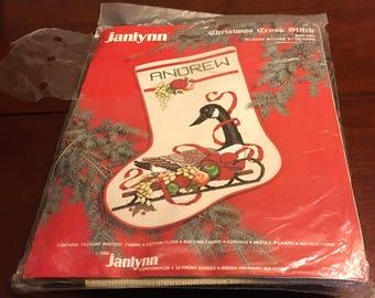 "Janlynn Christmas Cross Stitch Kit 00-285 Sleigh Goose Stocking 12 "" x 17  "" Ribbons Fruit Personalized  2004"