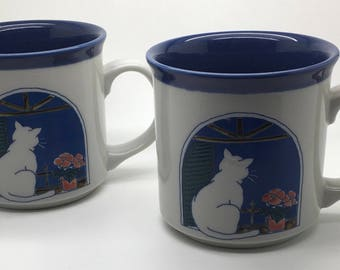 Otagiri Mug Cat Kitten Looking Out the Eindow Embossed Blue Blue Set Of 2  Collectible Coffee Mugs   Lot of 2 Japan