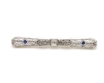 Vintage Deco 18k White Gold Filagree Diamond Sapphire Bar Brooch Pin - .30 ct tw