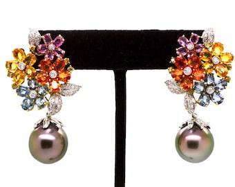 18k White Gold Diamond Sapphire & Tahitian Black Pearl Earrings - 12.50 ct total