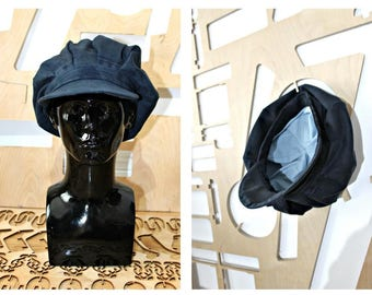 Handmade Denim hat Unisex Embroidered Newsboy cap Baker Boy Cap Sun hat Edwardian Peaky Blinder Ireland Bohemian Unique Repurposed Denim