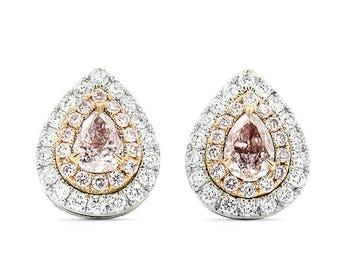 Gold Diamonds Earrings, Pink Diamond Earrings, Diamond Earrings , Fancy Pink Diamond Earrings, 18k White gold.